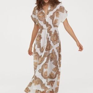 H&M White print maxi dress size 10